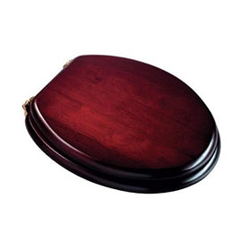 Croydex Mahogany Effect Solid Wood Toilet Seat with Brass Effect Fixings