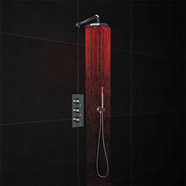 Cruze LED Triple Thermostatic Valve with Round Shower Head + Handset