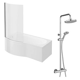 Cruze Shower Bath + Exposed Shower Pack (1700 B Shaped with Screen + Panel)