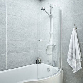 Curved Screen with Knob for P-Shaped Baths NCS3