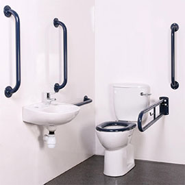Bristan - DocM Close Coupled WC Pack with TMV3 Thermostatic Basin Mixer Tap - Blue Aluminium - DOCM-T3-B