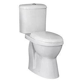 KLARA Toilet WC Close Coupled Rimless Bathroom Heavy Duty Seat 430mm Pan Height