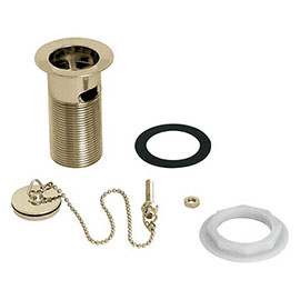 """Deva 1 1/4"""" Slotted Basin Waste with Brass Plug/Chain & Stay - Gold - DW300/501"""