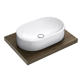 600 x 450mm Dark Wood Shelf with Nouvelle Semi-Oval Basin