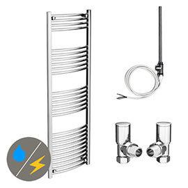 Diamond 500 x 1600mm Curved Heated Towel Rail (Inc. Valves + Electric Heating Kit)