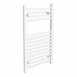 Diamond Heated Towel Rail - W300 x H800mm - White - Straight