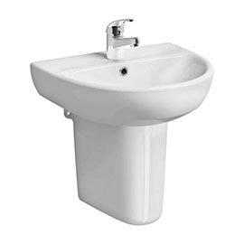 Twyford E100 Round 1TH Basin & Semi Pedestal