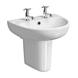Twyford E100 Round 2TH Basin & Semi Pedestal