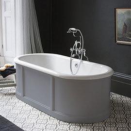 Burlington London 1800mm Bath with Curved Surround & Waste - Classic Grey
