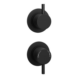 Arezzo Matt Black Concealed Individual Stop Tap + Thermostatic Control Shower Valve