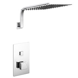 Milan Square Push-Button Concealed Shower Valve with 300x300mm Shower Head + Curved Arm