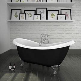 Earl Black 1750 Double Ended Roll Top Slipper Bath w. Ball + Claw Leg Set