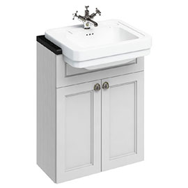 Burlington 60 2-Door Vanity Unit & Classic Semi-Recessed Basin - Matt White