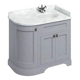 Burlington Floor Standing Corner Vanity Unit - Classic Grey - Right Hand 1000mm with Worktop