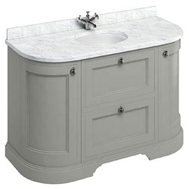 Burlington 134 2-Door/Drawer Curved Vanity Unit & Minerva Worktop with Basin - Dark Olive