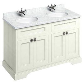 Burlington 130 4-Door Vanity Unit & Minerva Worktop with Double Basin - Sand