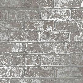 Fine Decor Loft Brick Grey Metallic Wallpaper