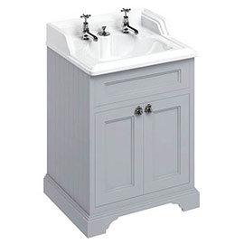 Burlington 65 2-Door Vanity Unit & Classic Invisible Overflow/Waste Basin (Classic Grey - 2 Tap Hole)