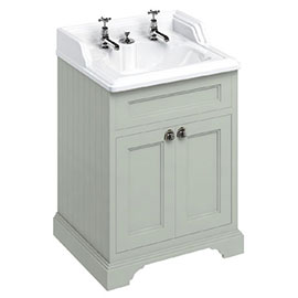 Burlington 65 2-Door Vanity Unit & Classic Invisible Overflow/Waste Basin (Dark Olive - 2 Tap Hole)