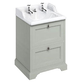 Burlington 65 2-Drawer Vanity Unit & Classic Invisible Overflow/Waste Basin (Dark Olive - 2 Tap Hole)