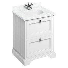 Burlington 65 2-Drawer Vanity Unit & Minerva Worktop with Basin - Matt White