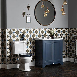 Bayswater Fitzroy Traditional Stiffkey Blue Sink Vanity Unit + Toilet Package