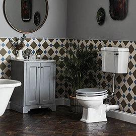 Bayswater Fitzroy Traditional Plummett Grey Marble Top Vanity Unit + Toilet Package