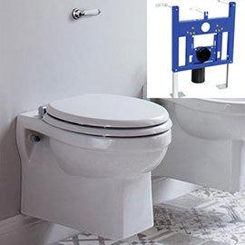 Burlington Traditional Concealed Cistern Inc. Ceramic Lever + Wall Hung Frame