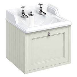 Burlington Wall Hung 65 Single Drawer Vanity Unit & Classic Invisible Overflow/Waste Basin (Sand - 2 Tap Hole)