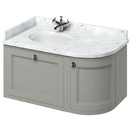 Burlington Wall Hung 100 Curved Corner Vanity Unit & Minerva Worktop with Basin (Dark Olive - Left Hand)