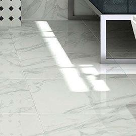 Pavia Marble Effect Grey Gloss Porcelain Floor Tiles - 60 x 60cm