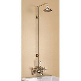 "Burlington Claremont Wall Mounted Bath Shower Mixer w Rigid Riser, Straight Arm & 6"" Rose"