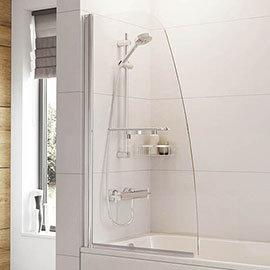 Roman Haven Angled Bath Screen with Towel Rail - H2D1CS Medium Image