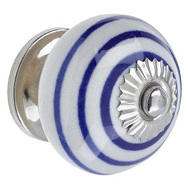 Heritage Ceramic Spiral Door Knob White & Blue - FKNCE03