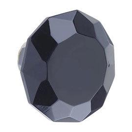 Heritage Glass Faceted Door Knob Black - FKNGL01