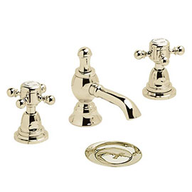 Heritage - Hartlebury 3 Hole Basin Mixer with Pop-up Waste - Vintage Gold - THRG06