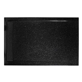 Roman - Infinity 40mm Low Profile Stone Rectangular Shower Tray - Shimmer Black - Various Size Options