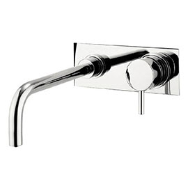 Crosswater - Kai Lever Wall Mounted 2 Hole Set Basin Mixer with Back Plate - KL121WNC