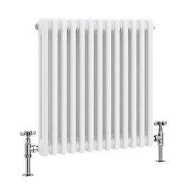 Keswick 600 x 592mm Cast Iron Style Traditional 2 Column White Radiator