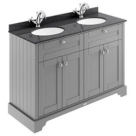 Old London 1200mm Cabinet & Double Bowl Black Marble Top - Storm Grey
