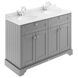 Old London 1200mm Cabinet & Double Bowl White Marble Top - Storm Grey