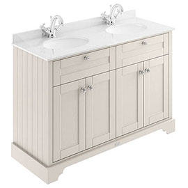 Old London 1200mm Cabinet & Double Bowl White Marble Top - Timeless Sand