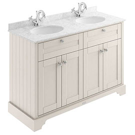 Old London 1200mm Cabinet & Double Bowl Grey Marble Top - Timeless Sand