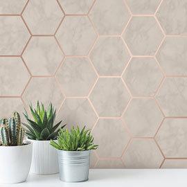 Fine Decor Metro Hex Marble Rose Gold Wallpaper - M1512