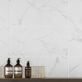 Massa Carrara Matt White Marble Ceramic Wall Tiles - 248 x 498mm