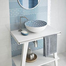 Mataro Blue Patterned Decor Wall Tiles - 125 x 250mm