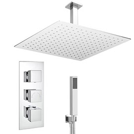 Milan Shower Package (inc. 400x400mm Square Rainfall Shower Head + Wall Mounted Handset)