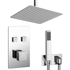 Milan Square Push-Button Ceiling Mounted Shower Pack (with Handset + Rainfall Shower Head)