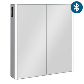 Turin 700x650mm LED Illuminated 2-Door Bluetooth Mirror Cabinet with Motion Sensor, Shaving Socket & Anti-Fog - MIR018
