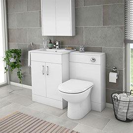 Turin 1100mm Gloss White Vanity Unit Bathroom Suite - Depth 400/200mm